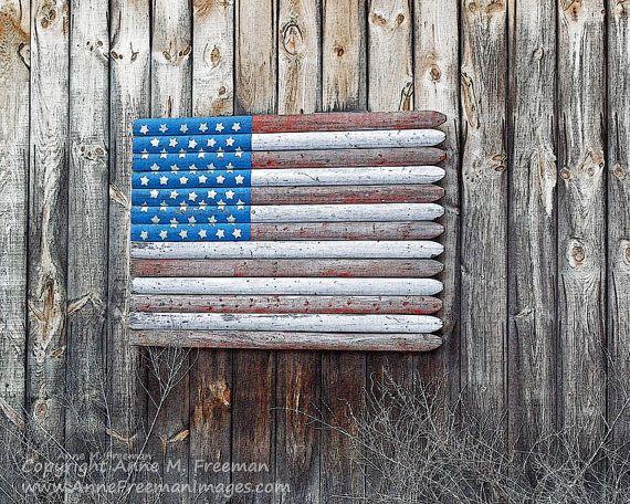 Faded Wooden Flag Photograph Americana Fine Art Wall