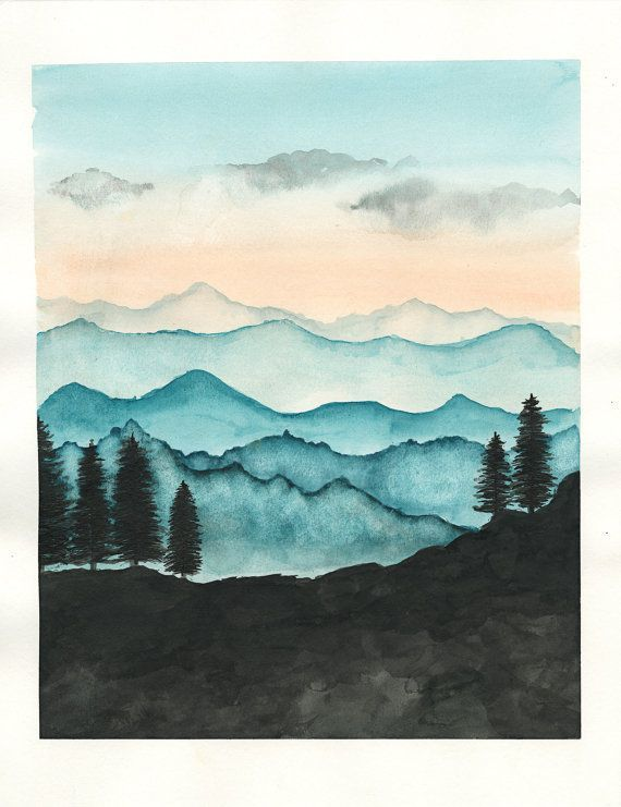 Blue Ridge Mountains Aquarell Print / Natur von RainStain auf Etsy