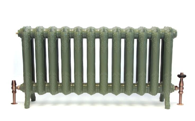 Queen 510mm in Farrow & Ball Green Smoke cast iron radiator. From Castrads. Beautiful ornate radiator #ornateradiators #castironradiators #farrowandball