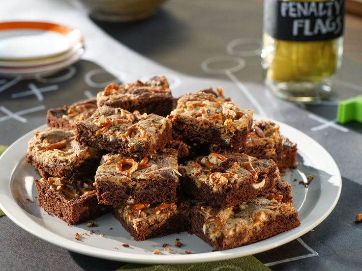 Peanut Butter Brownies with Salted Pretzels recipe from Valerie Bertinelli via Food Network