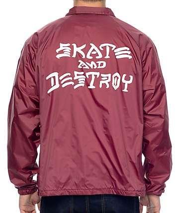 Thrasher Skate And Destroy Burgundy Coach Jacket