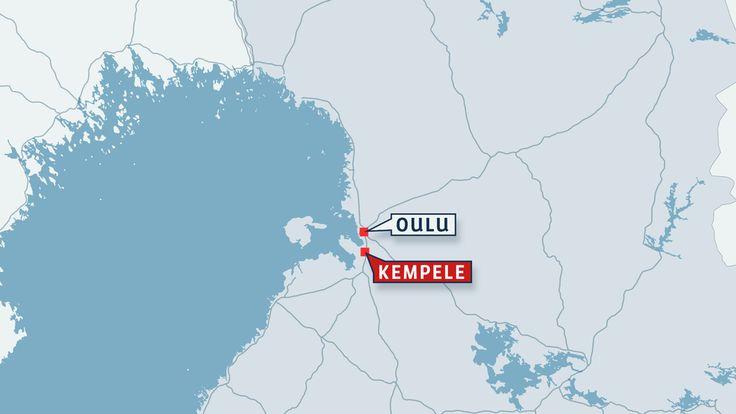 Suomen kartta jossa Kempele ja Oulu