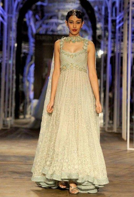 India Bridal Fashion Week 2013 - Tarun Tahiliani stunning beige anarkali