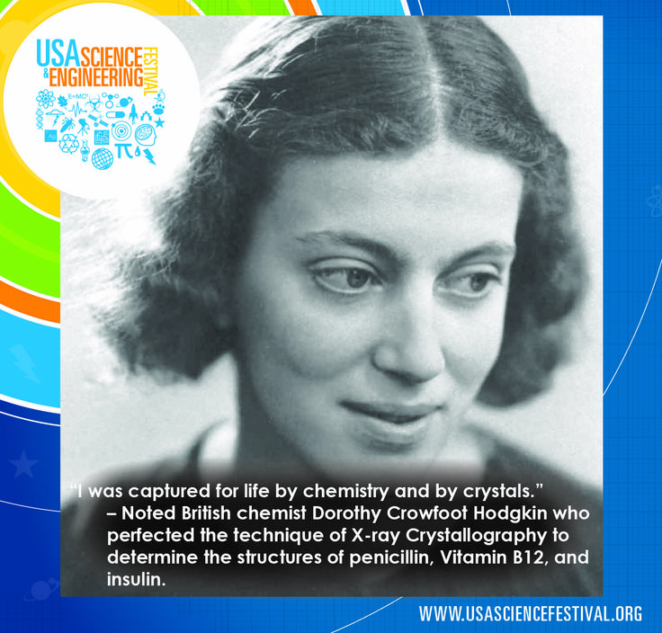 Dorothy Crowfoot Hodgkin –Chemist    Advanced the technique of X-ray Crystallography, and used it to determine the structures of penicillin, Vitamin B12 and insulin. She was the second woman behind Marie Curie to win an unshared Nobel Prize in Chemistry.