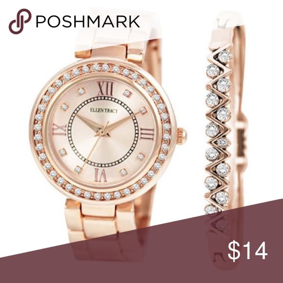 NIB Ellen Tracy rose gold watch and bangle Ellen Tracy rose gold-tone watch and bangle. New in box. Ellen Tracy Accessories Watches