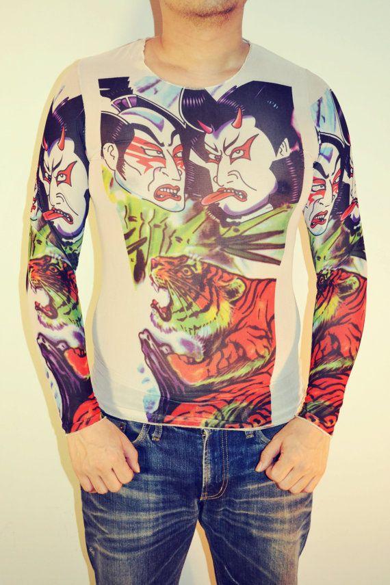 Tattoo T-Shirt Japanese YAKUZA Samurai & Tiger Long Sleeved Men's T ...