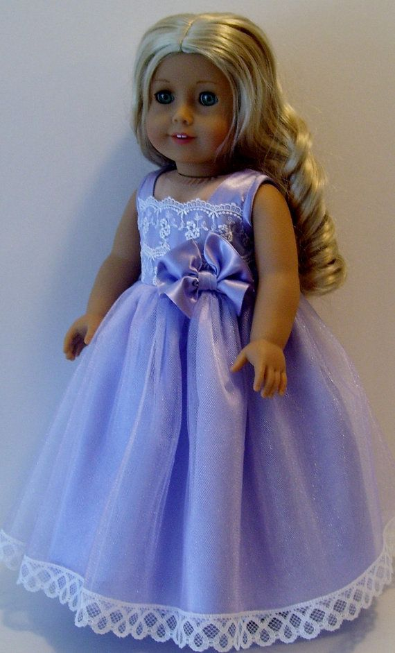 Lavender princess dress for American Girl and by KathyAnneDesigns