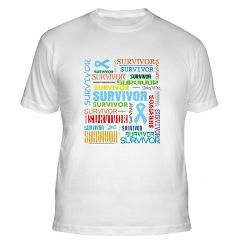 Prostate Cancer SURVIVOR typographic collage shirts and gifts in cool distressed style  by HopeDreamsDesigns.Com