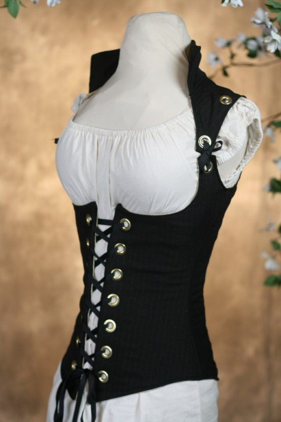 Black Pinstriped Suiting Vixen Corset by Damsel in this Dress
