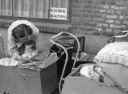 Een vrouw haalt een kindje uit een van de kinderwagens voor een pand, waar een b…