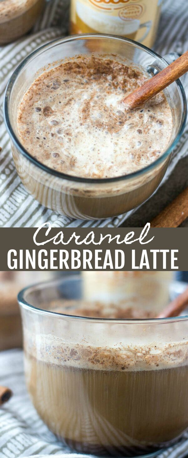 Caramel Gingerbread Latte {A Spicy Sweet Pick Me Up Drink} caramel/gingerbread/coffee Frothy, delicious and with a little bit of spice this Caramel Gingerbread Latte is the perfect way to warm up and wake up during the holiday season! #ad #LatteMadeEasy