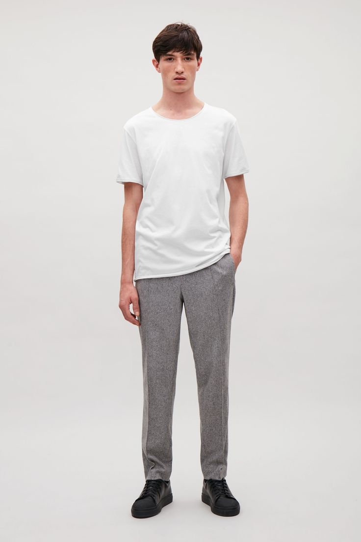 COS image 8 of Rolled edge t-shirt in White