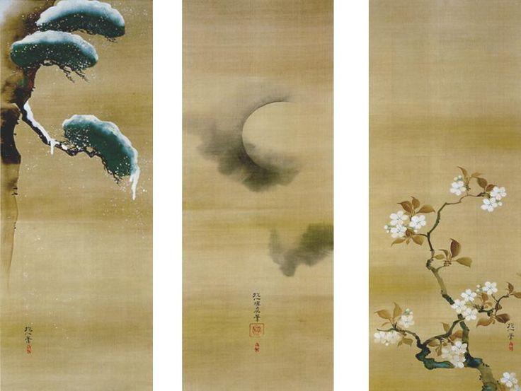 酒井抱一(1761~1828)は、姫路城主酒井忠以の弟として江戸に生まれ、幼少より恵まれた環境で芸術の世界に親しんだ。ことに絵画は、光琳に傾倒しつつ独自の画境を創始した。雪月花は、わが国の季節感を端的に物語る画題で、江戸狩野派の画人などに早くから取り上げられてきた。抱一は、三幅を並置したときの各幅相互の画面構成を考慮し、雪松は画面上部に、雲井の月は中央に、桜花は下部に描いて、三幅を通して対角線に構図をまとめている。ここには、画家、俳人、そして琳派芸術の研究家でもあった抱一の、デザイナーとしての面目が躍如としている。また、本図は、精選された絵具の優秀さや賦彩の美しさの点でも、抱一代表作の一つであるといえる。共箱の箱書に「文政三年庚辰五月端午日 君山家蔵」とあることから、抱一が60歳のときの作品であることがわかる。