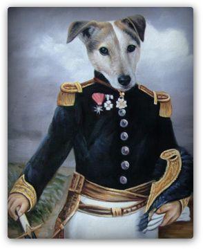 Painting from your dog Hond in Uniform - Honden schilderijen