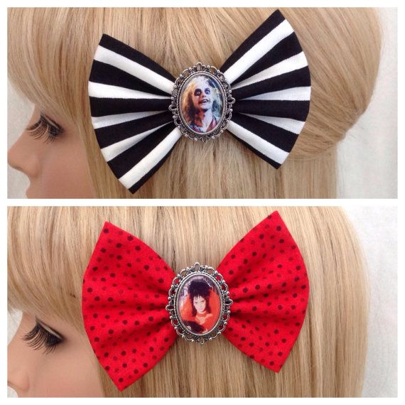 Beetlejuice hair bow clip rockabilly by GrimAndProperDesigns