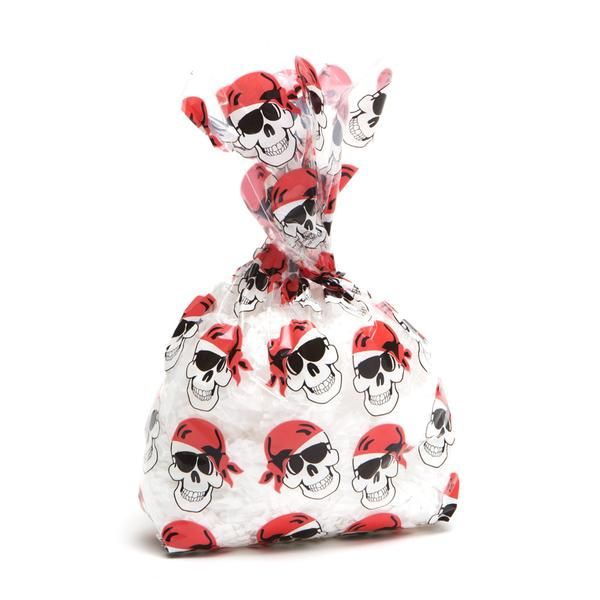 Cellophane Pirate Skull Bags 12 Piece Halloween Party Favor