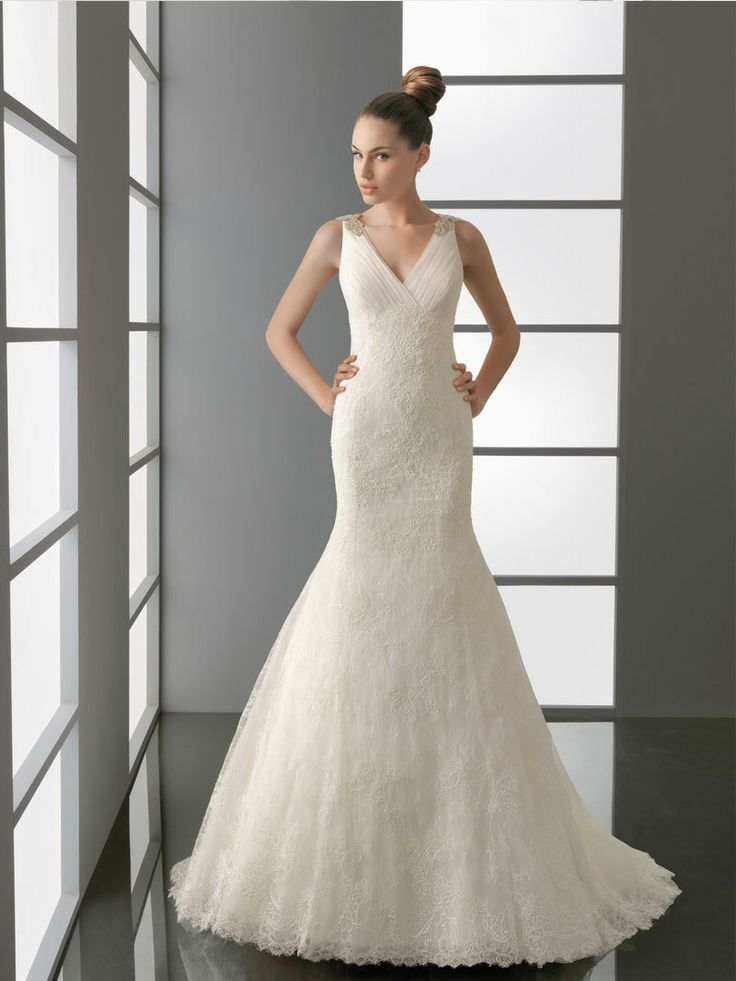 V-neck-back Embroidered Trumpet Bridal Gown with Wide Straps