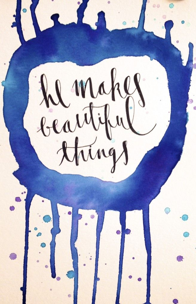 Modern calligraphy watercolor art and beautiful things on