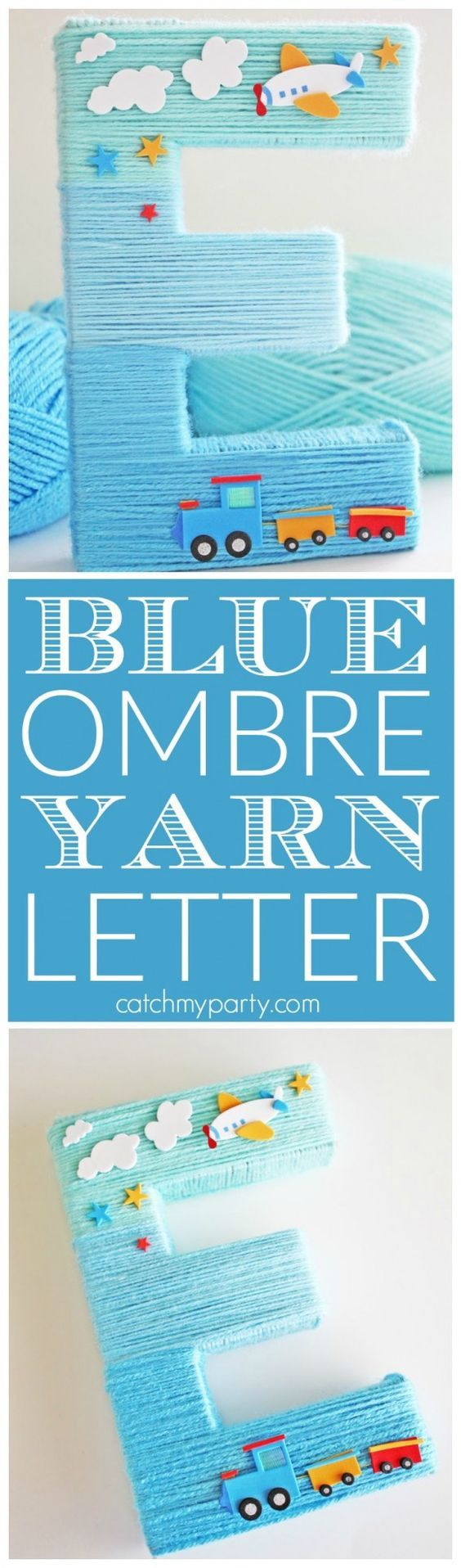 Blue Yarn-Wrapped Ombre Monogram Letter! This is perfect for a boy 1st birthday, boy baby shower or boy nursery decoration. Also, use the DIY to make one as a baby shower gift! | CatchMyParty.com