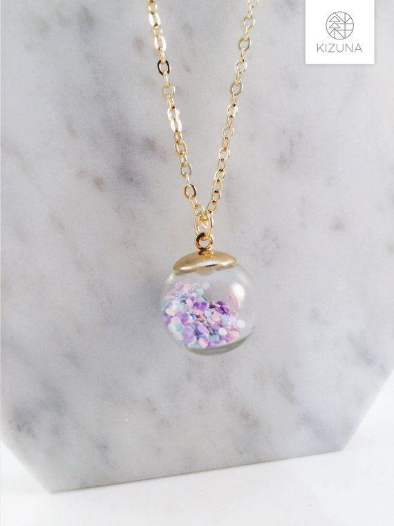 Snow globe necklace glitter ball colorful by KizunaAccessory