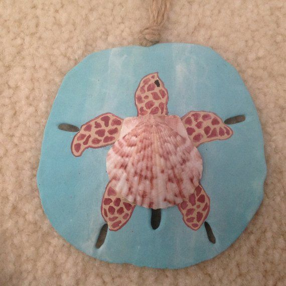 Sea Turtle, Honu, Hand Painted Sand Dollar Ornament, Beach Ornament, Beach Christmas, Seashell Turtle