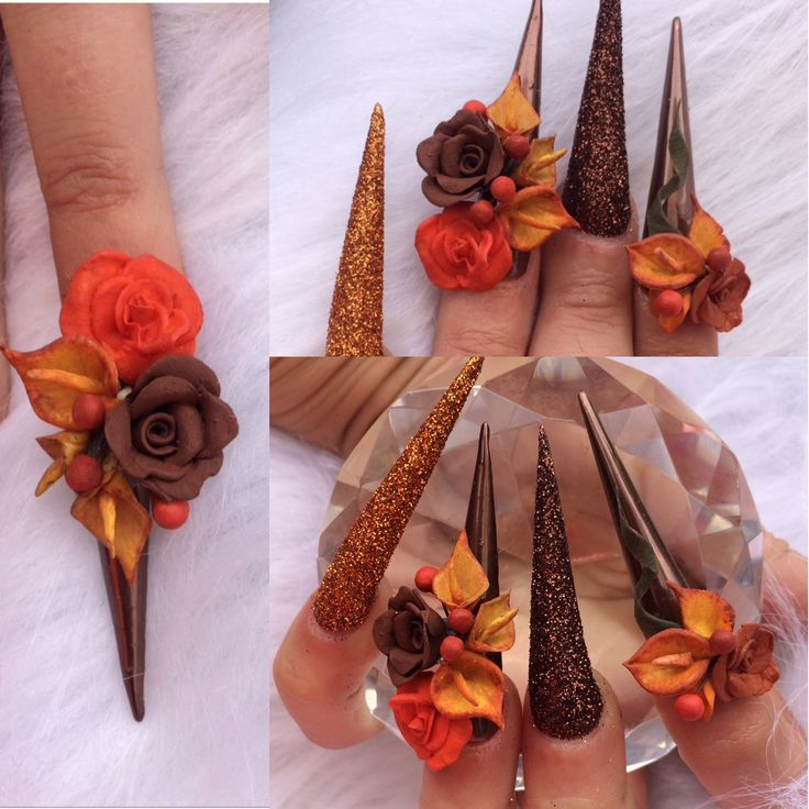 Autumn Nails  3d acrylic flowers
