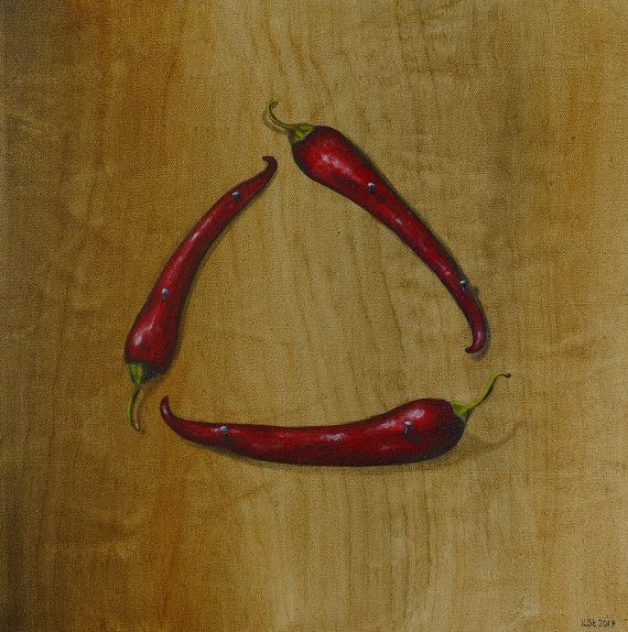 Hot triangle. Nailed chillis on wood. Original oil by IlseHviid