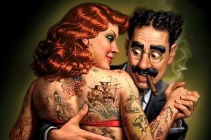Groucho Marx está cara a cara con una dama fuertemente tatuada en esta ilustración deMark Fredrickson. 'Fredrickson vive en Tucson, Arizona. Él atendió al Tennessee Temple College en Chattanooga, Tennessee, donde estudió dibujo y fotografía...