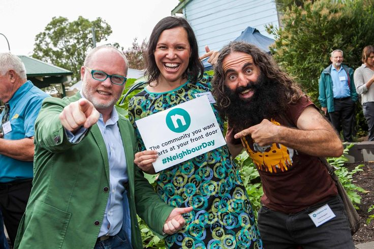 The community you want starts at your front door™   I founded Australia's annual celebration of community, Neighbour Day, in Melbourne in 2003 after an elderly woman was discovered in her home more than two years after she had died.  In 2014 I gifted Neighbour Day in perpetuity to Relationships Australia.   Pictured here in February 2017 with my fellow Ambassadors, Natalie Ahmat and Costa Georgiadis.