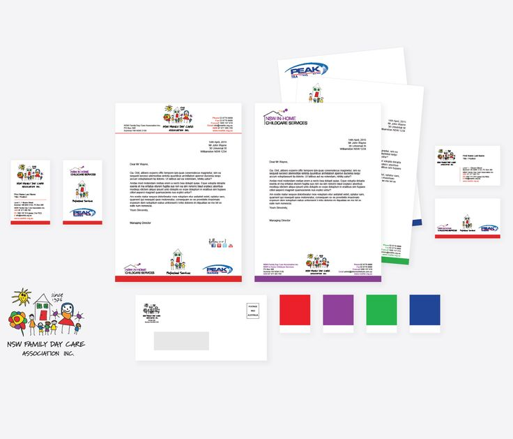 Revised brand for NSW Family Day Care business units, including letterheads with colour coding for clear communication.