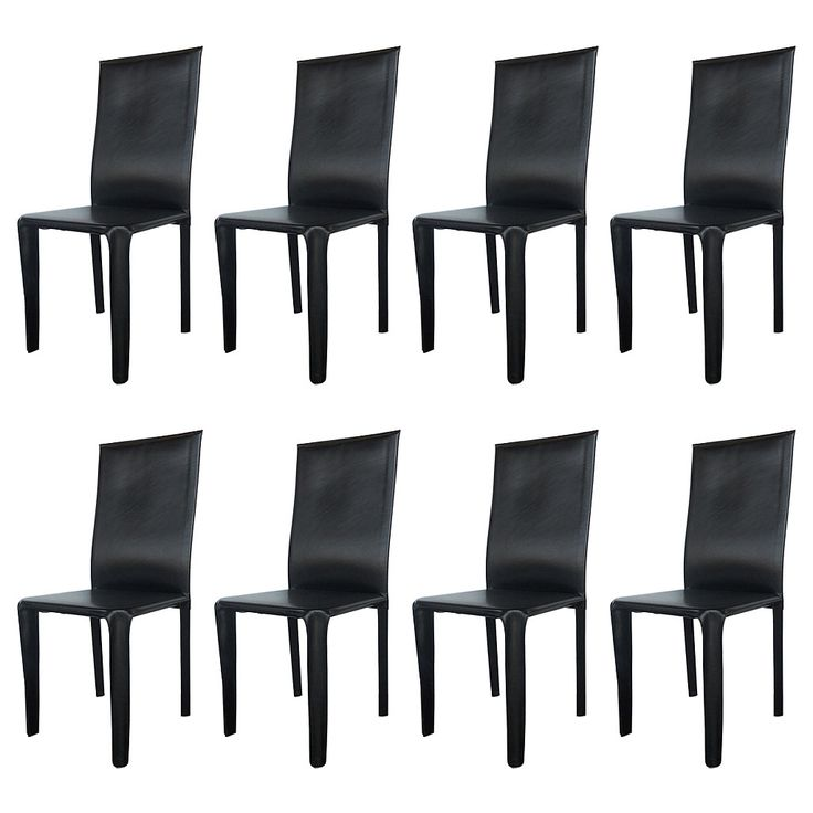 Twelve Italian Black Leather Dining Chairs by Arper | From a unique collection of antique and modern dining room chairs at https://www.1stdibs.com/furniture/seating/dining-room-chairs/