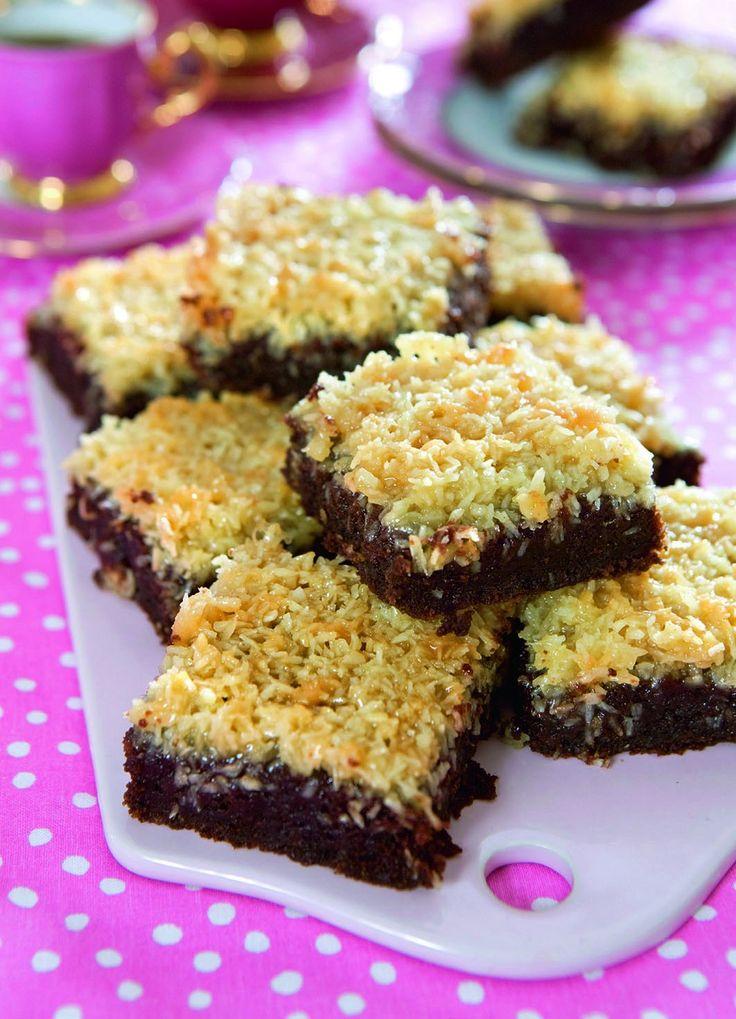 Kokos och choklad är en god kombination. Obs! Det ska inte vara bakpulver i smeten.