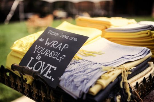 """""""wrap yourself in love"""" pashmina favors for a chilly outdoor wedding 