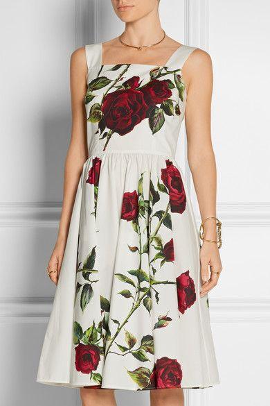 Dolce & Gabbana | Floral-print cotton-poplin dress | NET-A-PORTER.COM