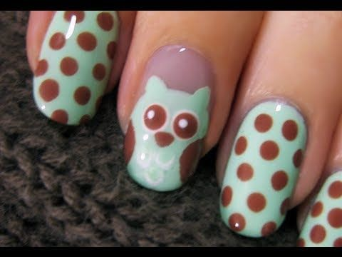 Cute Owl Nail Art (video tutorial)