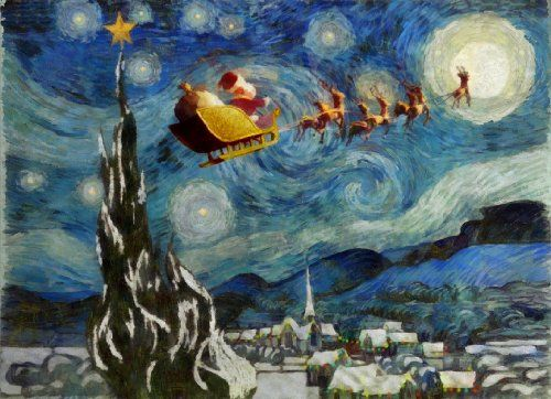 Santa's Starry Night - Van Gogh Starry Night Art Parody Boxed Holiday Cards Easy Street Publications