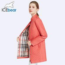 Icebear 2017 bolsillo interior de la cremallera diseñado chaqueta para mujer parkas de algodón acolchado abrigos largos de las mujeres delgadas de cuello redondo 17g270d(China (Mainland))
