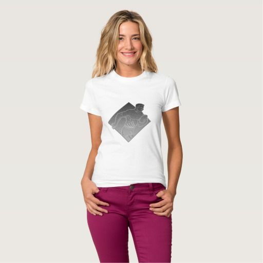 Rugby player metallic silver tshirt. Rugby World Cup women's t-shirt designed with an illustration of a rugby player running passing the ball on isolated background done in metallic silver style. #rwc #rwc2015 #rugbyworldcup
