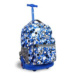 A backpack with wheels is simply a backpack that has been designed with wheels in order to be pulled along as well as being carried like a traditional backpack. Rolling backpacks for kids function similar to wheeled overnight bags that business travelers use. A wheeled backpack is a safe way for your child to move heavy textbooks and other school supplies to and from school.  Using a wheeled backpack can save a lot of discomfort to your child's back. As your child gets older the books g