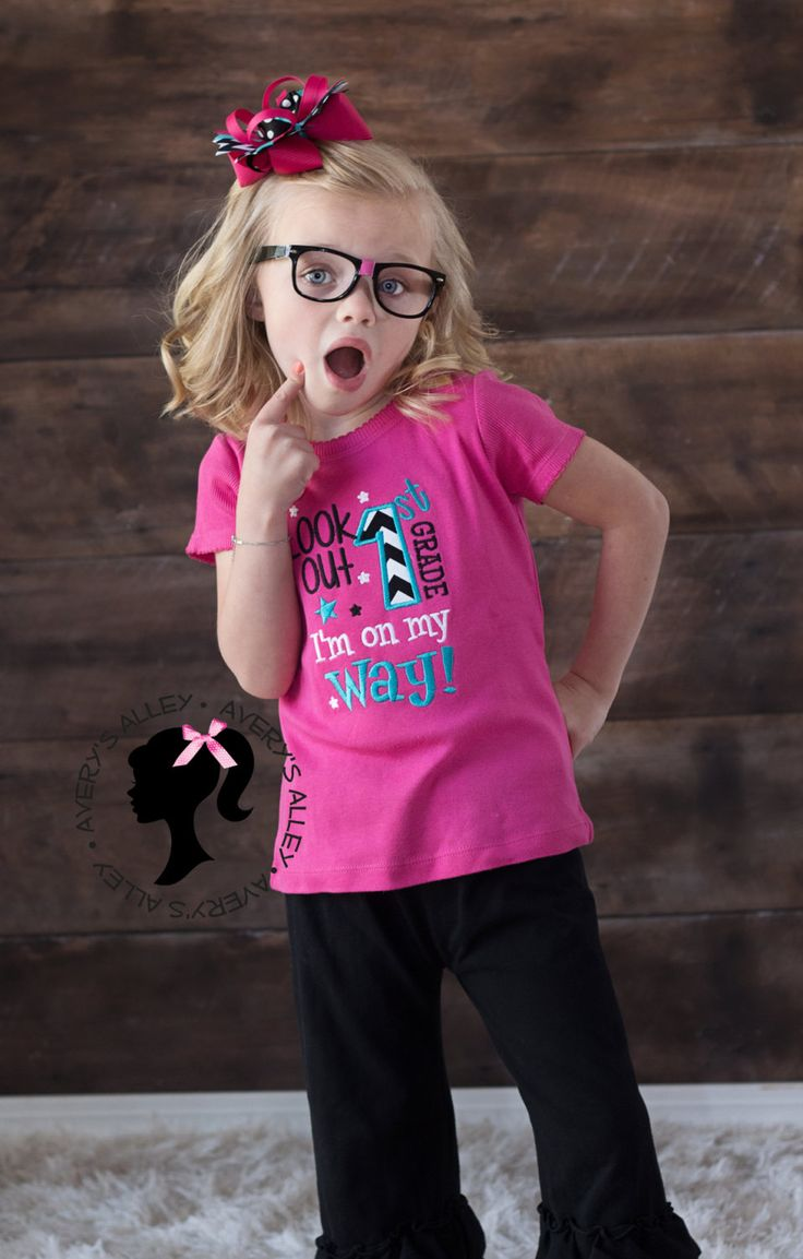 Look out 1st Grade I'm on my way - Any Grade! Girls Kindergarten Graduation Applique Hot Pink Shirt & Matching Hair Bow Set Back to School by AverysAlley1 on Etsy https://www.etsy.com/listing/230915472/look-out-1st-grade-im-on-my-way-any