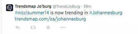 Nicci trended on Twitter!!! #niccisummer14 launch