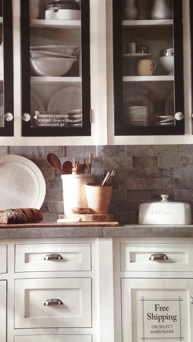 Pottery Barn catalog.   Concrete countertops
