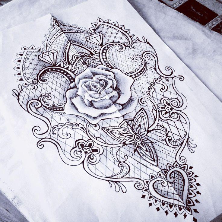 Lace Rose Barock Mantra Tattoo Skizze Frau – so etwas auf dem Rücken #Tattoosonback