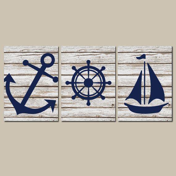 Nautical Wall Art, CANVAS or Prints Distressed Wood Effect Background Boy Nursery BATHROOM DECOR, Navy Ocean Anchor Boat Wheel Set of 3