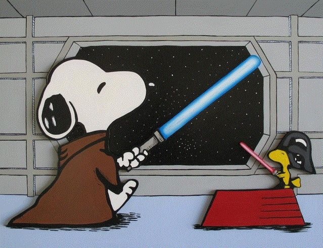 Snoopy and Woodstock Star Wars Let the force be with U