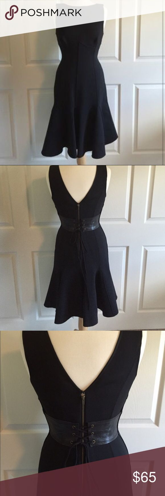 Tracy Reese Black Combo Godet Dress NWT Very cool dress made from neoprene with a leather cincher at the back. Fit and flare style, that's very flattering. Hits just below the knee Tracy Reese Dresses Midi