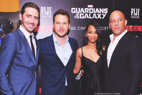 Lee Pace attends The Cinema Society with Men's Fitness and FIJI Water special screening of Marvel's Guardians of the Galaxy at Crosby Street Hotel on July 29, 2014 in New York City.   Shown here with Chris Pratt, Zoe Saldana, and Vin Diesel.