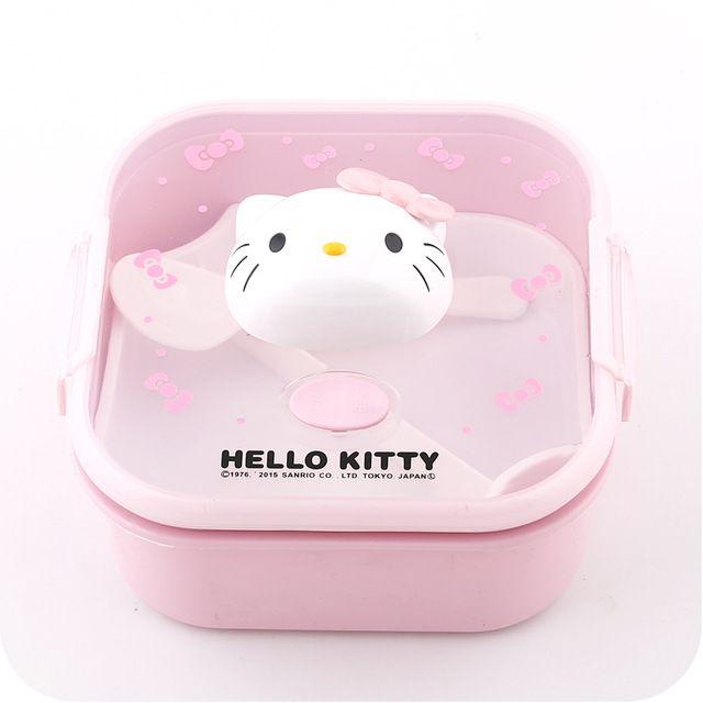 5 Kawaii olá Kitty crianças de 2 camadas de microondas caixa de almoço Bento com colher. Bagunça estanho jantar balde. Beno caixa. De de