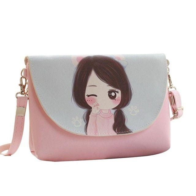 Fashion Girls Mini Messenger Bag Cartoon Kids Coin Purses Handbags Shoulder Bags