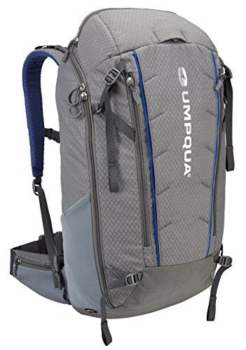 "Umpqua Surveyor 2000 ZS Fly Fishing Backpack  http://fishingrodsreelsandgear.com/product/umpqua-surveyor-2000-zs-fly-fishing-backpack/  Two flat zipped ront pockets, a top loft pocket for keys, sunglasses, etc., and two water bottle pockets will also carry fly boxes Fully padded waist belt with 5-inch pockets ""Sticky"" web rod-tube holders x 2"